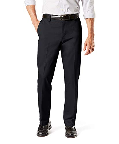 Dockers Men's Straight Fit Signature Lux Cotton Stretch Khaki Pant, Black - creased, 36W x 30L