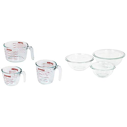 Pyrex Glass Measuring Cup Set (3-Piece, Microwave and Oven Safe),Clear