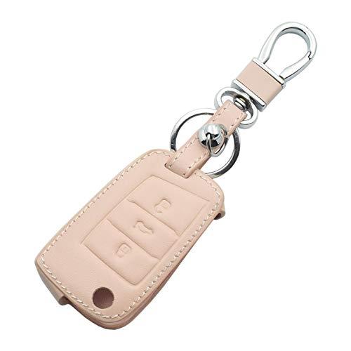 MWBLN Cubierta de la Llave del Coche,Leather Car Key Case,For VW Golf 7 Volkswagen GTI R GTE MK7 Skoda Octavia A7 Seat Leon Ibiza 3 Buttons Folding Remote Fob Cover Pink