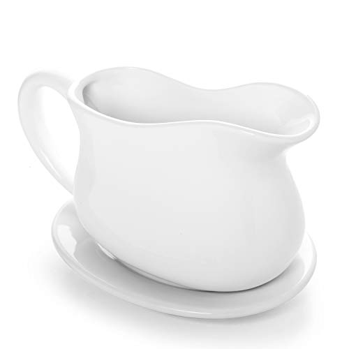 Gonioa 17oz Porcelain Gravy Boat with Tray and Big Dripless Lip Spout for Gravy, Warming Sauces, Salad Dressings, Milk and More - Microwave and Dishwasher Safe