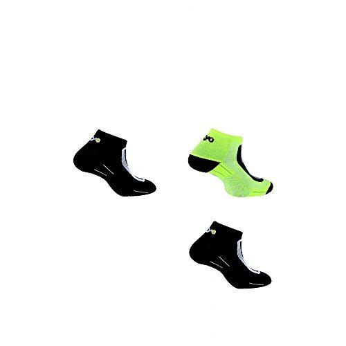 Thyo - Lot 3 paires chaussettes Run Lighty noir jaune - 44/46