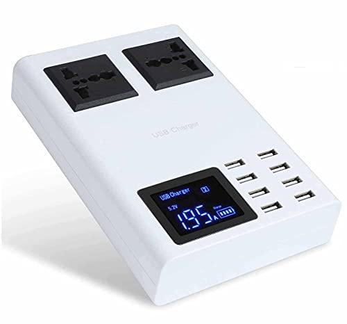 MRTYU-UY USB-Ladestation für mehrere Geräte, Steckdosenleisten-Überspannungsschutz mit 8 USB-Ladeanschlüssen und 2 Steckdosen, Desktop-Schnellladegerät, für Reisen Home School Office Smartphone