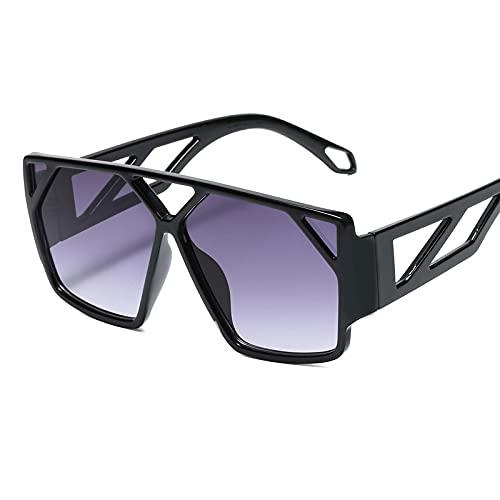 Secuos Moda Gafas De Sol De Gran Tamaño para Mujer, Gafas Cuadradas Negras De Moda, Montura Grande, Gafas Retro Vintage para Mujer, Unisex, S2025Blackgray