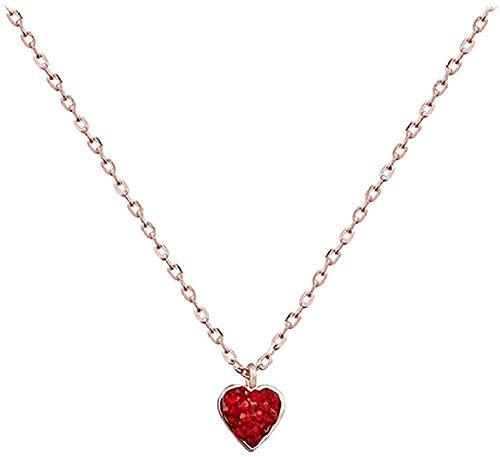 LKLFC Collar Mujer Collar Hombre Collar Cadena Collar Collar de corazón de Diamantes de imitación Completo Regalo Niñas Niños Collar