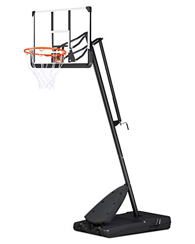 """MaxKare Basketball Hoop & Goal Portable Basketball System Height Adjustable 7.5ft-10ft 54"""" Backboard Wheels for Youth Teenagers Kids Outdoor Use"""