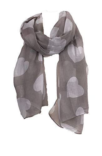 Pamper Yourself Now Herz/Liebe Schal - Hellbraun mit weißen Herzen (Heart/Love scarf - Light brown with white hearts