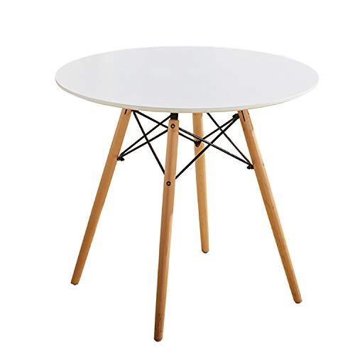 Esstisch Weiß Rund Küchentisch Esstisch Modern Büro Konferenztisch Kaffeetisch Natürliche Buchenholzbeine (Weiß, 100 * 74)