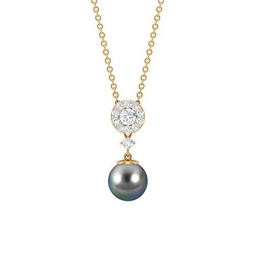 Collar de diamantes de 3,23 quilates para mujer, colgante de gota de perlas de Tahití solitario, colgante de cadena larga de oro, collar de aniversario único, colgante de oro negro