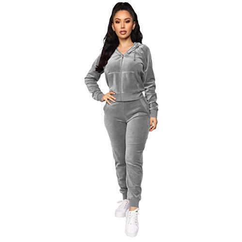 Women's 2 Piece Velvet Tracksuit Set Long Sleeve Zip Up Hoodie & Jogger Pants Sets Warm Velour Sweatsuit Outfit Grey M