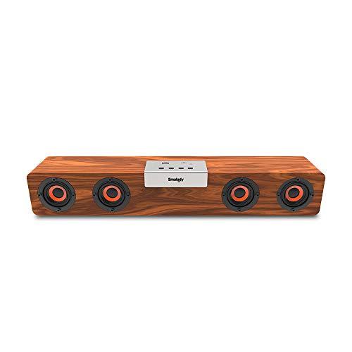 Docooler SMALODY SL-90H Holz BT Soundbar Bluetooth 5.0 Lautsprecher Wireless Subwoofer 5W * 4 Lautsprecher TF-Kartenerweiterung FM-Modus