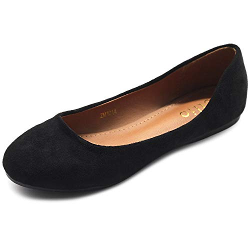 Ollio Womens Shoes Ballet Light Faux Suede Low Heels Flat ZM1014(8.5 B(M) US, Black)