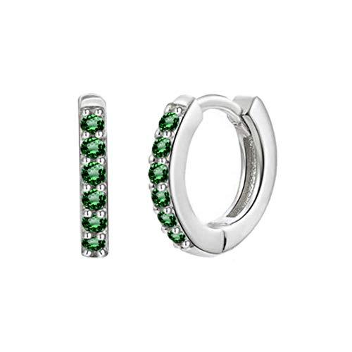 Pendientes Mujer Pendientes De Aro De Circonita De Cristal Verde Negro De Plata De Ley 925 Pendientes De Plata Dorada para Mujer-Silver_Green
