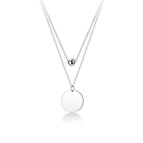 mingtian Collar con Colgante de oblea de Cuentas de Doble Capa de Moda de Plata de Ley 925 para Mujer, joyería Exquisita para Fiesta de Boda DS546