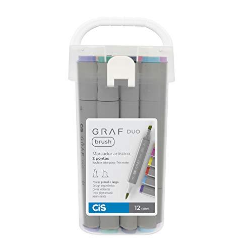 Marcador Artístico 2 Pontas, CiS, Graf Duo Brush, 60.9000, 12 Cores
