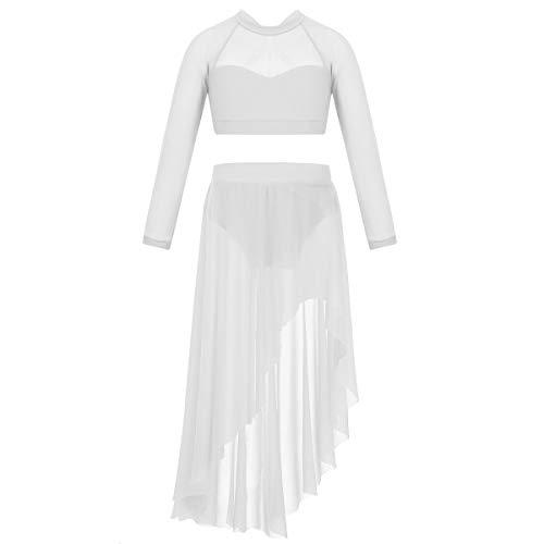 Freebily 2 Pcs Kinder Mädchen Ballettkleid Ballett Outfit Crop Top mit Tüllrock Latin Tanz Kleidung Set Lyrical Tanz Kostüm Weiß 152-164/12-14Jahre