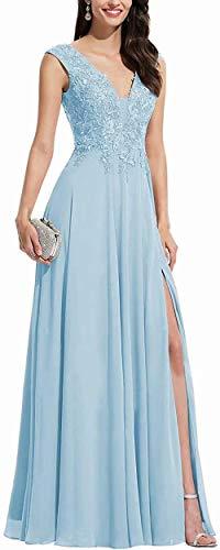Aurora dresses Damen Chiffon Abendkleider Ballkleid Elegant für Hochzeit Brautkleid V-Ausschnitt Appliques Brautjungfern Kleider(Blau,32)