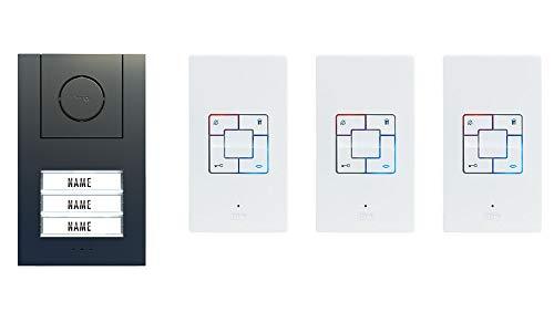 Audio-Türsprechanlage für 3-Familienhaus, Vistus AD-Alu 4030 Anthrazit