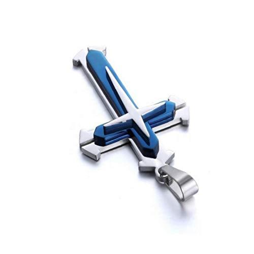 shentaotao Collar De Cadena Unisex De Acero Inoxidable del Colgante Cruz Collar De La Manera Mujeres Y Hombres - Joyas Azul
