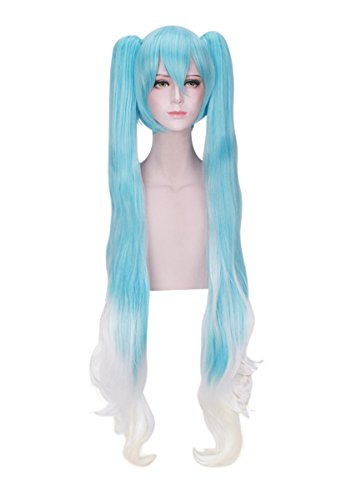DAZCOS Snow Miku Hatsune Lolita Princess Cosplay Wig 120cm (Blue mix White)