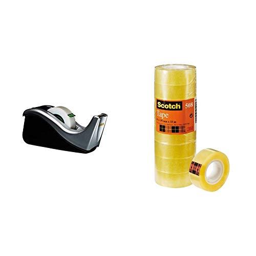 Scotch Dispenser Nastro Adesivo, 3M 19 mm x 33 m & Nastro Adesivo 3M, Trasparente Acrilico, 19 mm x 33 m, Confezione Torretta da 8 Pezzi