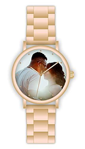 Memories - Reloj de pulsera con foto de 40 mm de diámetro, regalo con foto de color oro rosa para amigos y familiares