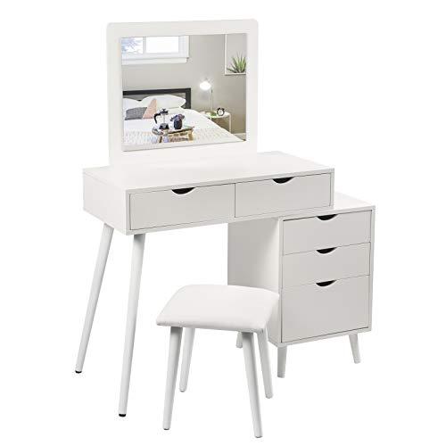 WOLTU Schminktisch mit Hocker und Spiegel, Kosmetiktisch mit 2 Schubladen und einem Nachttisch, Frisierkommode Spiegel Frisiertisch für Schlafzimmer, Weiß