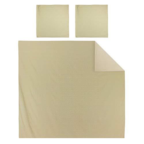 Linnea Parure de lit 260x240 cm Satin de Coton Victoire Marron Clair