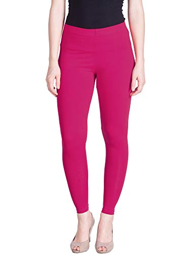 Lux Lyra Women's Skinny Fit Ankle Leggings (Candy Pink, Free Size)