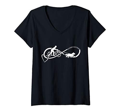 Damen Bikejöring Dogscooting Herz Zughundesport T-Shirt mit V-Ausschnitt