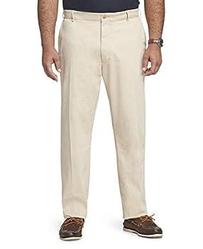 IZOD Men s Big & Tall Big and Tall Saltwater Stretch Flat Front Straight Fit Chino Pant Pale Khaki 44W X 29L
