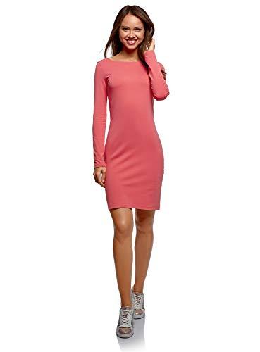 oodji Ultra Mujer Vestido de Punto Ajustado, Rosa, ES 38 / S