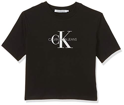 Calvin Klein Monogram Modern Straight Crop Camiseta, Negro (CK Black Bae), M para Mujer