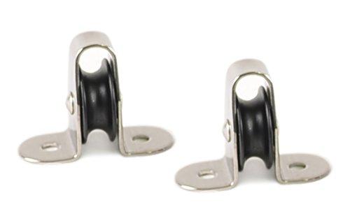 wellenshop 2X Umlenkrolle Seilrolle Stehblock für Seil Ø 6mm Edelstahl Kunststoff Nylon Mini-Block