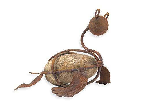 Crispe Edelrost Deko Schildkröte zum Hinstellen, aus Metall und Stein