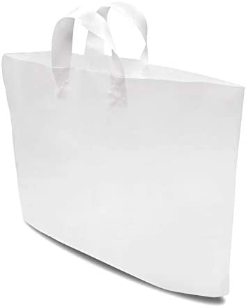 Plastic Merchandise Shopping Bags with Soft Strap Handles White High Density 19 5x15x4 Opaque product image