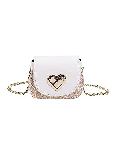 N /C Bolso Bandolera de Cuero para niñas pequeñas, Mini Bolso de Hombro de Princesa con Lentejuelas Brillantes (White, 12cm*5cm*10cm)