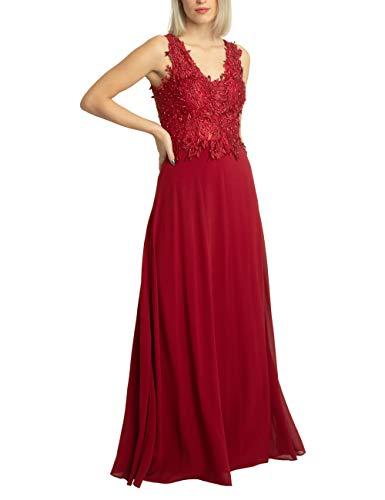 APART Elegantes Damen Kleid lang, Abendkleid, Ballkleid, Spitze mit Perlen Bestickt, weiter Chiffonrock, Bordeaux, 42