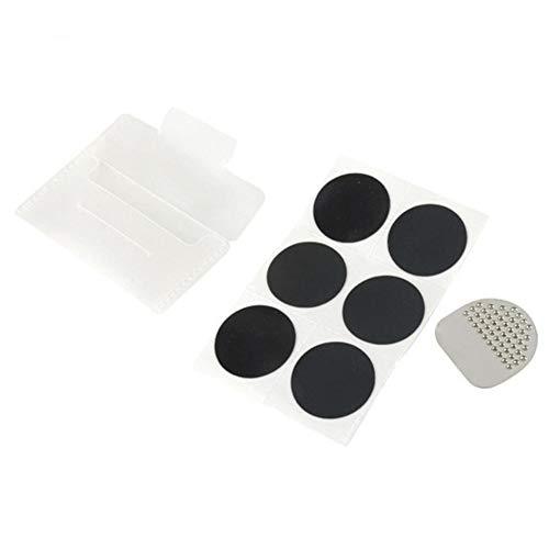 Riosupply Parches autoadhesivos para reparación de pinchazos de neumáticos de Bicicleta (6 Parches + 1 Hoja de Archivo + 1 Caja de Polipropileno portátil)