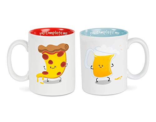 Pavilion Gift Company Pizza & Beer Complimentary Dishwasher Safe Coffee Mugs, 18 oz, Multicolor