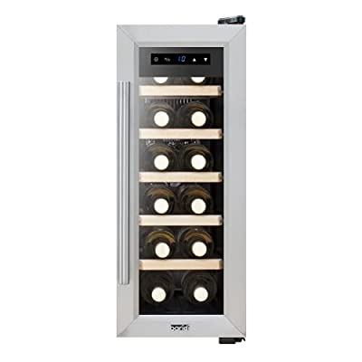 Baridi 12 Bottle Wine Cooler Fridge with Touch Screen Controls & LED Light, Low Energy A, Stainless Steel/Black