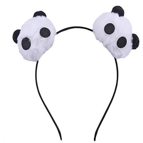ADKYBandeau de panda mignon de bande dessinée de tempérament doux bandeau de maquillage de boule de cheveux à larges bords vendant des couvre-chefs de dame mignonne (2 pièces)