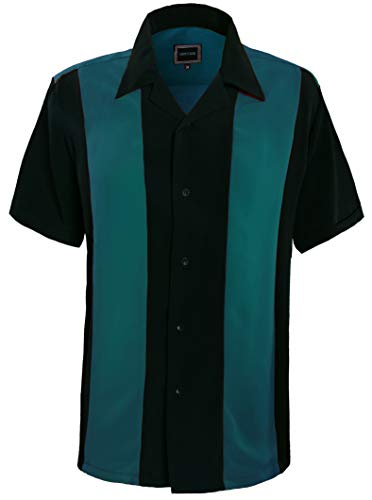 Guytalk Mens Button Down Bowling Shirt, Cuban Style Retro Two Ton Camp Shirt Teal Black-2XL