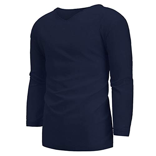 Zestion Men's V-Neck Shirt Cotton and Linen Loose Large Size Solid Color Slim Three-Quarter Sleeve Spring and Summer Simple Casual Shirt XX-Large Navy
