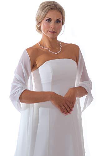 Unbekannt Schal Brautkleid Bolero aus Chiffon Stola Chiffon Ivory Jacke Braut Brautbolero Jäckchen (Weiß)