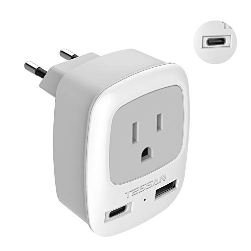 European Power Plug Adapter, TESSAN International Type C Travel Plug with 1 USB-C Port and 1 USB A Port, Outlet Adaptor for US to Most of Europe EU Italy Spain Iceland France Germany