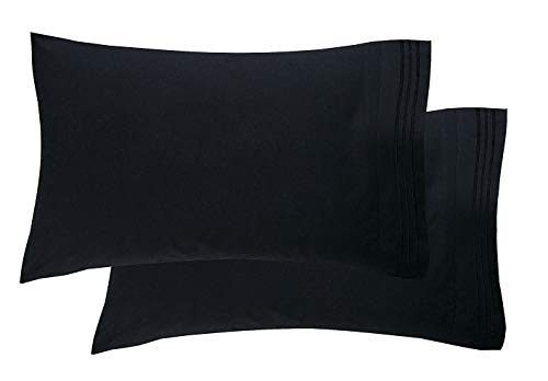 Luxury Ultra-Soft 2-Piece Pillowcase Set 1500 Thread Count Egyptian Quality Microfiber - Double Brushed - 100% Hypoallergenic - Wrinkle Resistant, King Size, Black