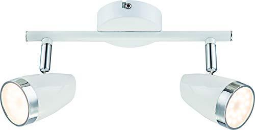 DM Leuchten Deckenlampe LED Lampe schwenkbar 2 flammig inkl. Leuchtmittel 2x 4 Watt, warmweiß, LED Deckenleuchte LED Strahler LED Spot, Weiß