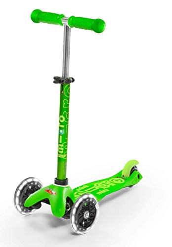 Micro Kickboard - Mini Deluxe LED 3-Wheeled, Lean-to-Steer, Swiss-Designed Micro Scooter for Preschool Kids with LED Light-up Wheels, Ages 2-5 - Green