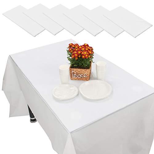 FOCCTS 6pcs Manteles Desechables de PEVA para Mesas de Interior o Exterior, Fiestas, Cumpleaños, Bodas, Navidad (Blanco)
