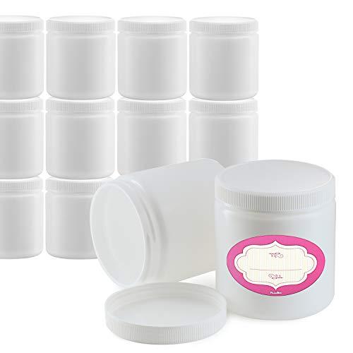 DilaBee Packung mit 12-8 Unzen Allzweck-Weißgläsern mit Deckel und Etiketten Nachfüllbare BPA-freie Kunststofftöpfe Große Leere runde Schleimgläser Kosmetikbehälter